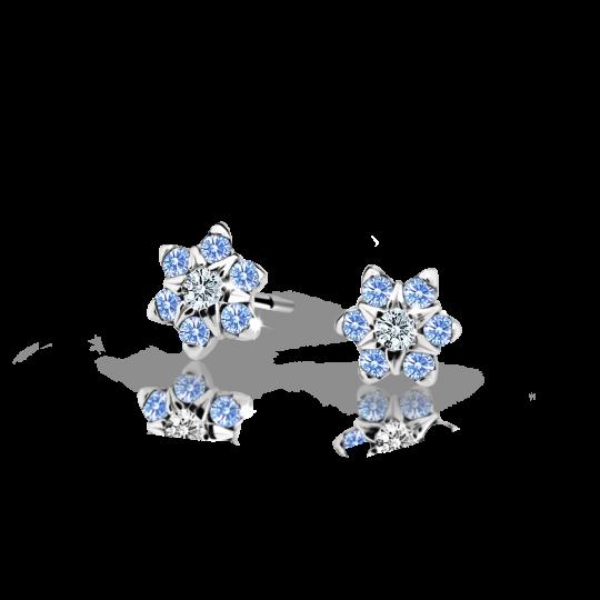Kolczyki dziecięce Danfil kwiatki C2152 białego, Arctic Blue, wkręt