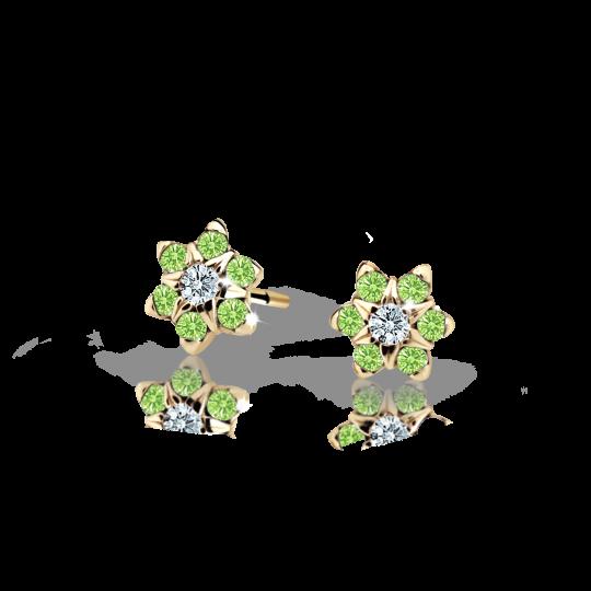 Kolczyki dziecięce Danfil kwiatki C2152 białego, Peridot Green, puzeta