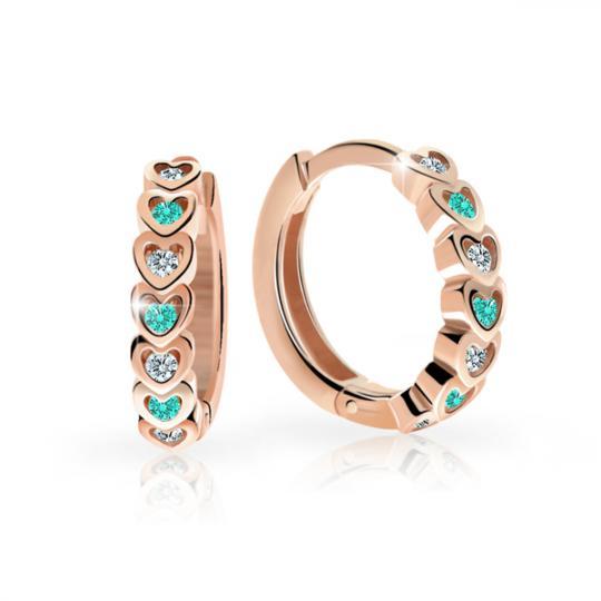 Kolczyki dziecięce Pierścionki Danfil C3341 z różowego złota z kryształkami Mint Green