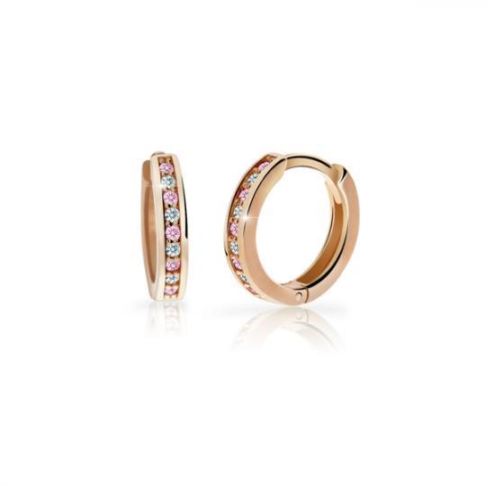 Kolczyki dziecięce Pierścionki Danfil C3342 z różowego złota z kryształkami Róż