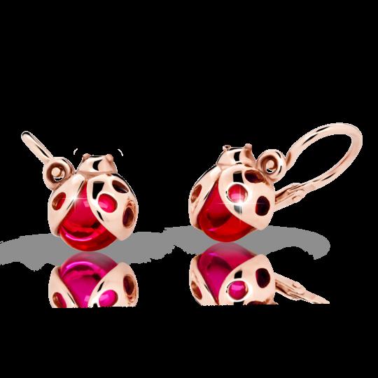 Kolczyki dziewczęce Danfil biedronki C2008 różowego, Ruby Dark, brizura