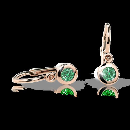 Kolczyki dziewczęce Danfil C1537 różowego, Emerald Green, brizura