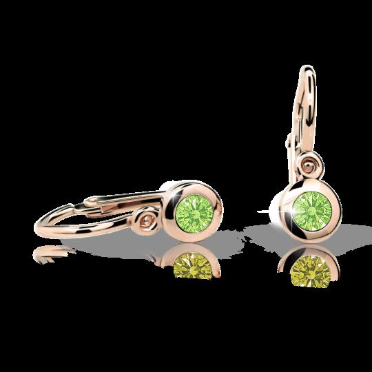 Kolczyki dziewczęce Danfil C1537 różowego, Peridot Green, brizura
