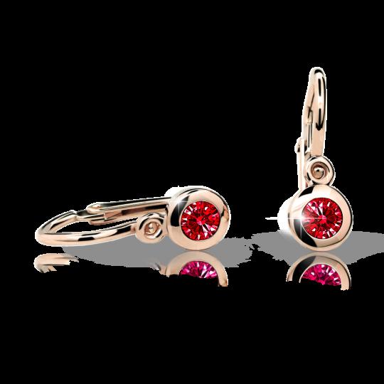 Kolczyki dziewczęce Danfil C1537 różowego, Ruby Dark, brizura