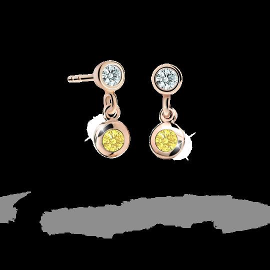 Kolczyki dziewczęce Danfil C1537 różowego, Yellow, puzeta