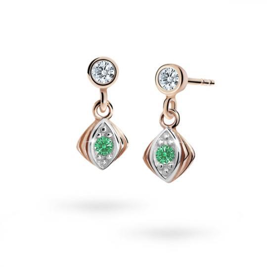 Kolczyki dziewczęce Danfil C1897 różowego, Emerald Green, puzeta