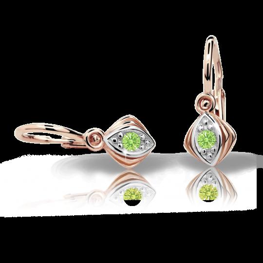 Kolczyki dziewczęce Danfil C1897 różowego, Peridot Green, brizura