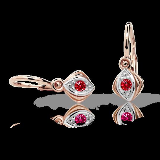 Kolczyki dziewczęce Danfil C1897 różowego, Ruby Dark, brizura