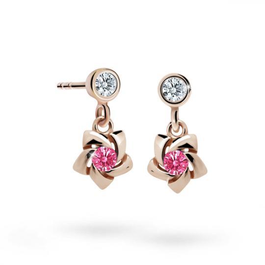 Kolczyki dziewczęce Danfil C2201 różowego, Tcf Red, puzeta
