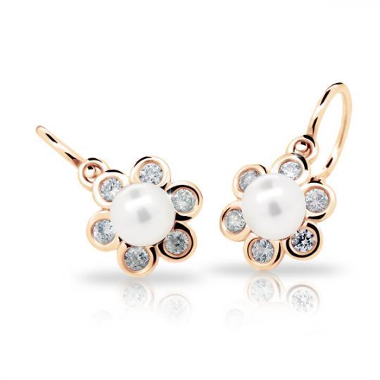 Kolczyki dziewczęce Danfil C2489 różowego, z perłami, brizura