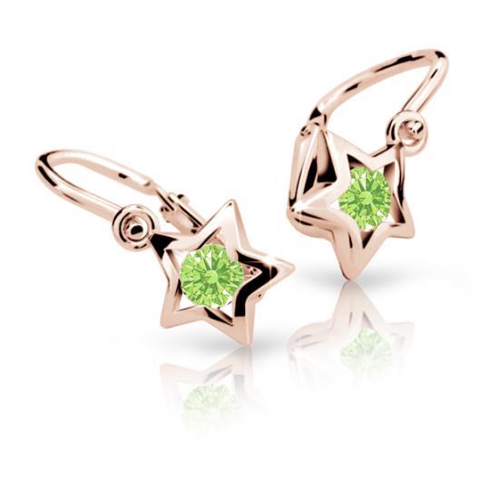 Kolczyki dziewczęce Danfil gwiazdki C1942 różowego, Peridot Green, brizura