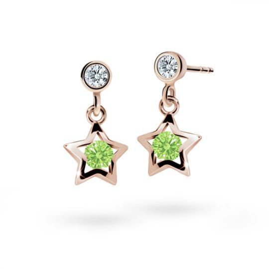 Kolczyki dziewczęce Danfil gwiazdki C1942 różowego, Peridot Green, puzeta