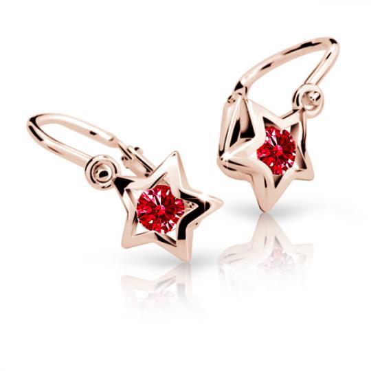 Kolczyki dziewczęce Danfil gwiazdki C1942 różowego, Ruby Dark, brizura