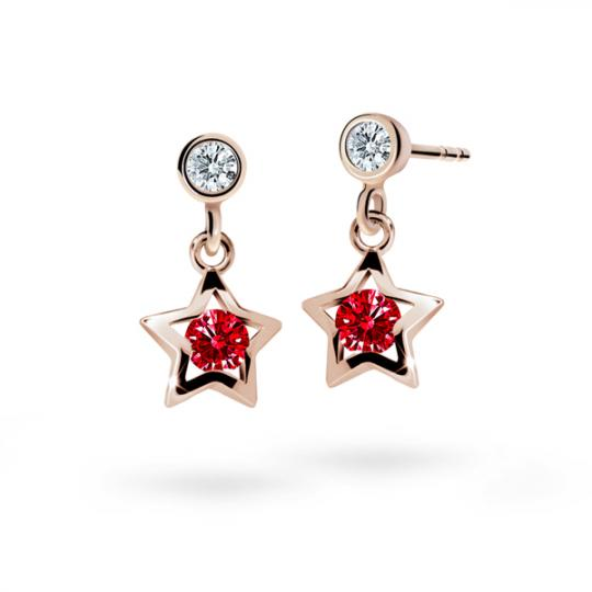 Kolczyki dziewczęce Danfil gwiazdki C1942 różowego, Ruby Dark, puzeta
