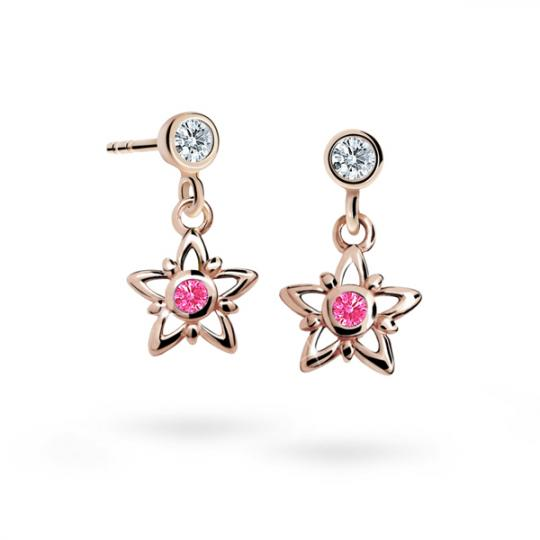 Kolczyki dziewczęce Danfil gwiazdki C1996 różowego, Tcf Red, puzeta