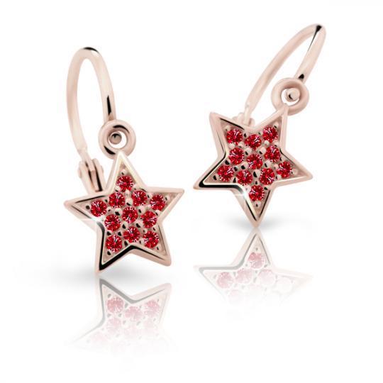 Kolczyki dziewczęce Danfil gwiazdki C2228 różowego, Ruby Dark, brizura