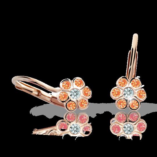Kolczyki dziewczęce Danfil kwiatki C1737 różowego, Orange, zapięcie patentowe