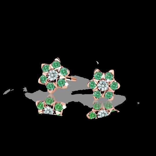 Kolczyki dziewczęce Danfil kwiatki C2152 różowego, Emerald Green, puzeta