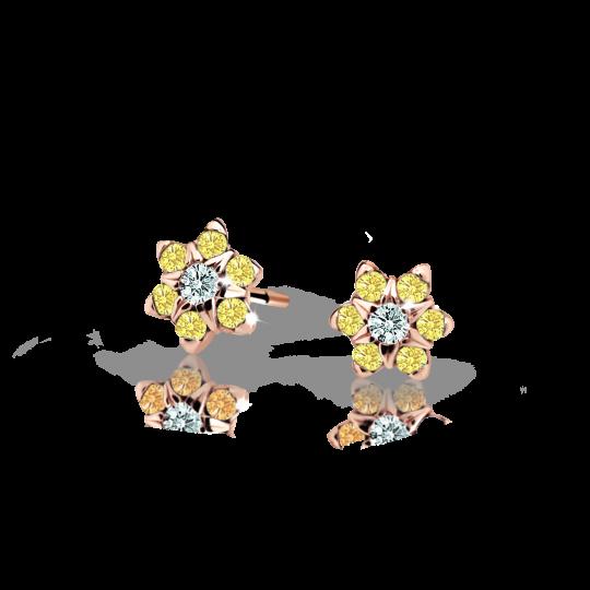 Kolczyki dziewczęce Danfil kwiatki C2152 różowego, Yellow, wkręt