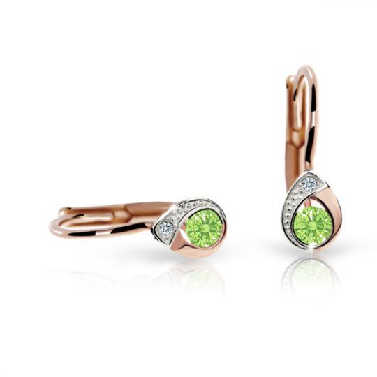Kolczyki dziewczęce Danfil łezki C1898 różowego, Peridot Green, zapięcie patentowe