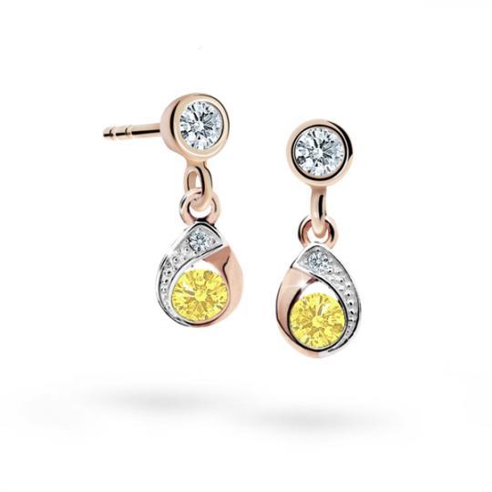 Kolczyki dziewczęce Danfil łezki C1898 różowego, Yellow, puzeta