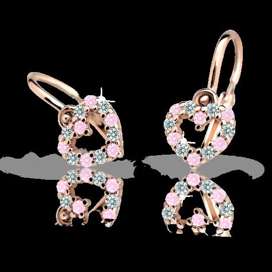 Kolczyki dziewczęce Danfil serduzska C2157 różowego, Pink, brizura