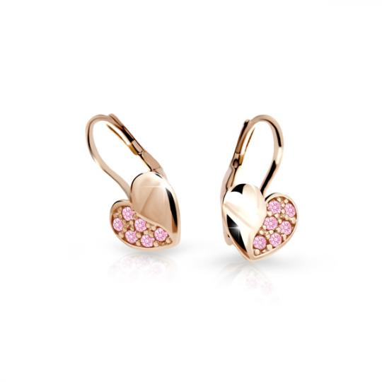 Kolczyki dziewczęce Danfil serduzska C2160 różowego, Pink, zapięcie patentowe