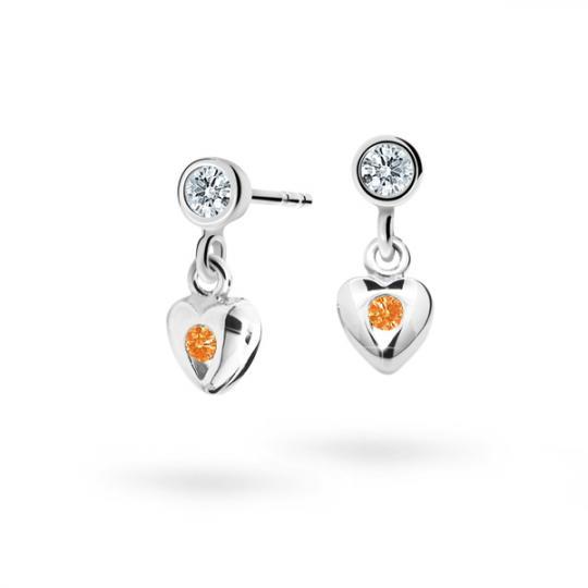 Mädchenohrringe Danfil C1556 Herzchen Weißgold, Orange, Ohrringverschluss in der Ballonform