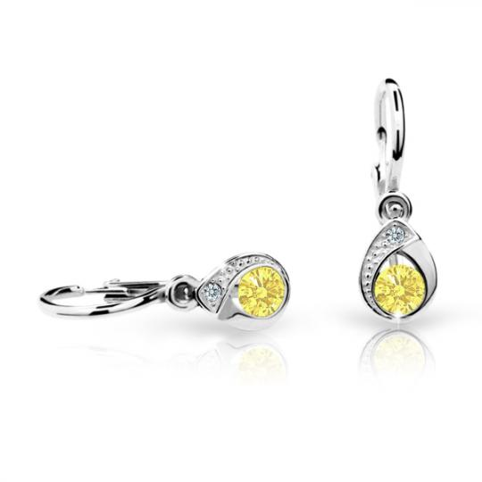 Náušnice pre bábätká Danfil slzičky C1898 zo bieleho zlata, Yellow, zapínanie brizura