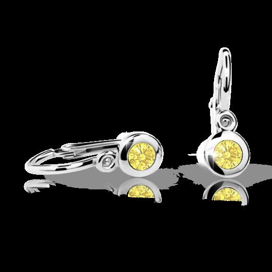 Pendientes de bebé Danfil C1537 oro blanco, Yellow, cierre frontal-la brisura