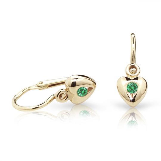 Pendientes de bebé Danfil corazones C1556 oro amarillo, Emerald Green, cierre frontal-la brisura