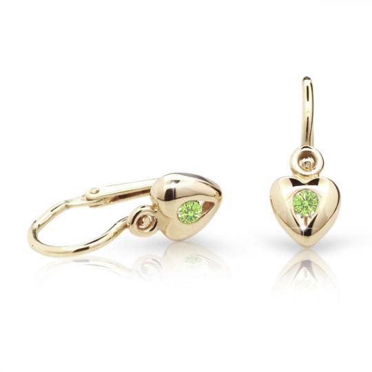 Pendientes de bebé Danfil corazones C1556 oro amarillo, Peridot Green, cierre frontal-la brisura