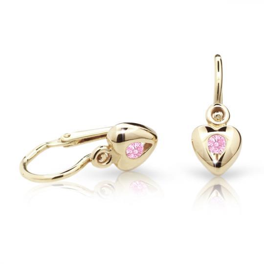 Pendientes de bebé Danfil corazones C1556 oro amarillo, Pink, cierre frontal-la brisura
