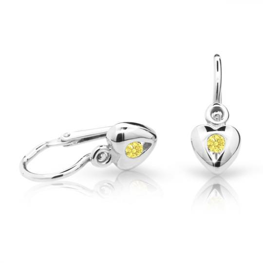 Pendientes de bebé Danfil corazones C1556 oro blanco, Yellow, cierre frontal-la brisura