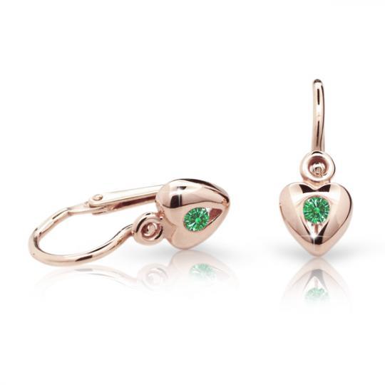 Pendientes de bebé Danfil corazones C1556 oro rosa, Emerald Green, cierre frontal-la brisura