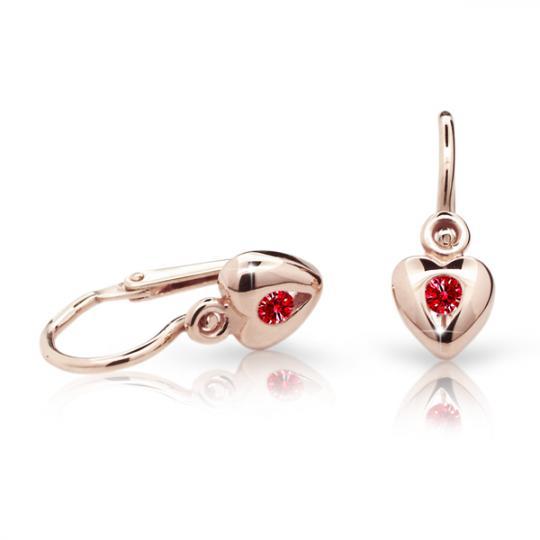 Pendientes de bebé Danfil corazones C1556 oro rosa, Ruby Dark, cierre frontal-la brisura