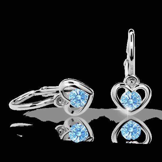 Pendientes de bebé Danfil corazones C1943 oro blanco, Arctic Blue, cierre frontal-la brisura