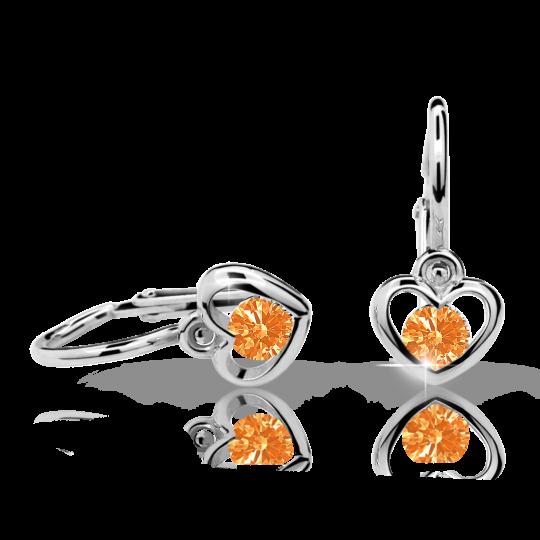 Pendientes de bebé Danfil corazones C1943 oro blanco, Orange, cierre frontal-la brisura