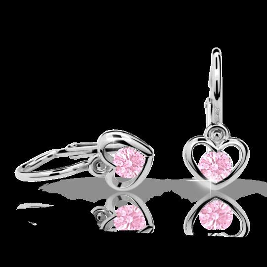 Pendientes de bebé Danfil corazones C1943 oro blanco, Pink, cierre frontal-la brisura