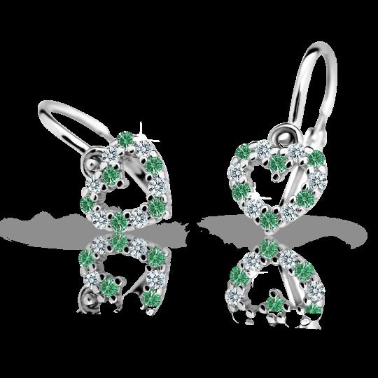 Pendientes de bebé Danfil corazones C2157 oro blanco, Emerald Green, cierre frontal-la brisura