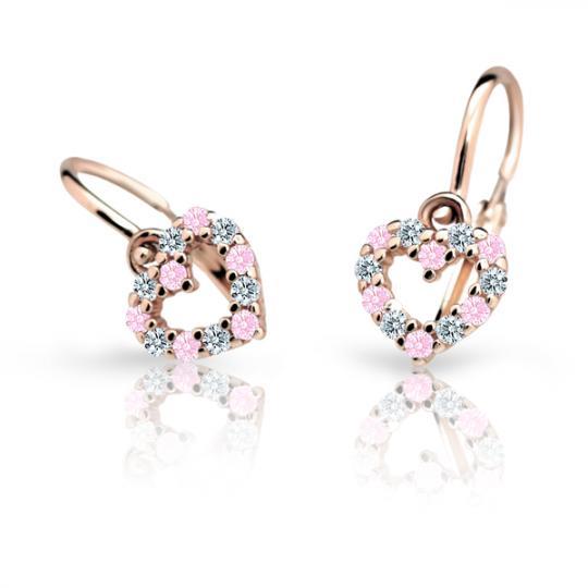 Pendientes de bebé Danfil corazones C2157 oro rosa, Pink, cierre frontal-la brisura