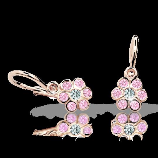 Pendientes de bebé Danfil flores C1737 oro rosa, Pink, cierre frontal-la brisura