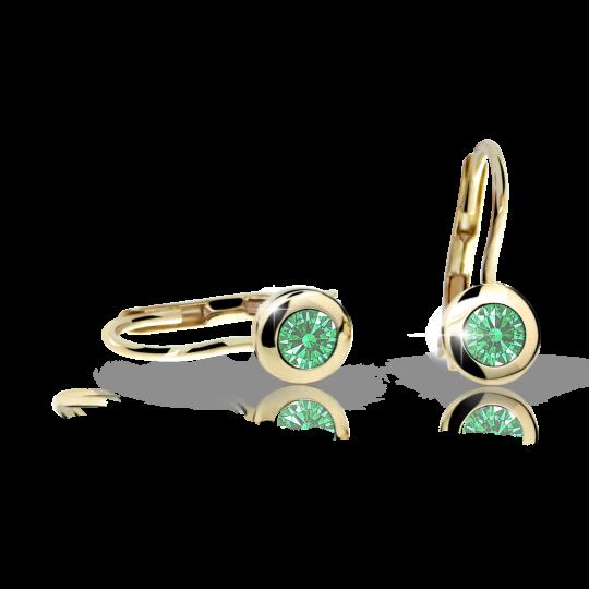 Pendientes de niña Danfil C1537 oro amarillo, Emerald Green, cierre de pala