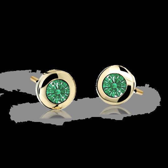Pendientes de niña Danfil C1537 oro amarillo, Emerald Green, cierre de presión