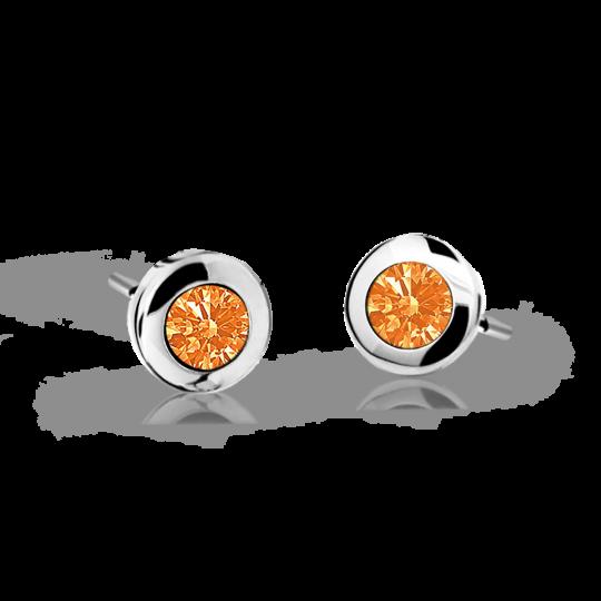 Pendientes de niña Danfil C1537 oro blanco, Orange, cierre de presión
