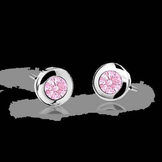 Pendientes de niña Danfil C1537 oro blanco, Pink, cierre de presión