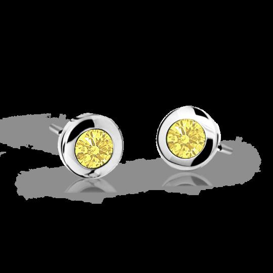Pendientes de niña Danfil C1537 oro blanco, Yellow, cierre de presión