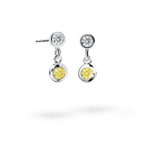 Pendientes de niña Danfil C1537 oro blanco, Yellow, cierre de rosca