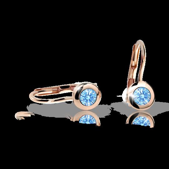 Pendientes de niña Danfil C1537 oro rosa, Arctic Blue, cierre de pala