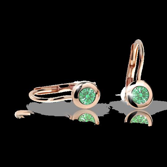 Pendientes de niña Danfil C1537 oro rosa, Emerald Green, cierre de pala